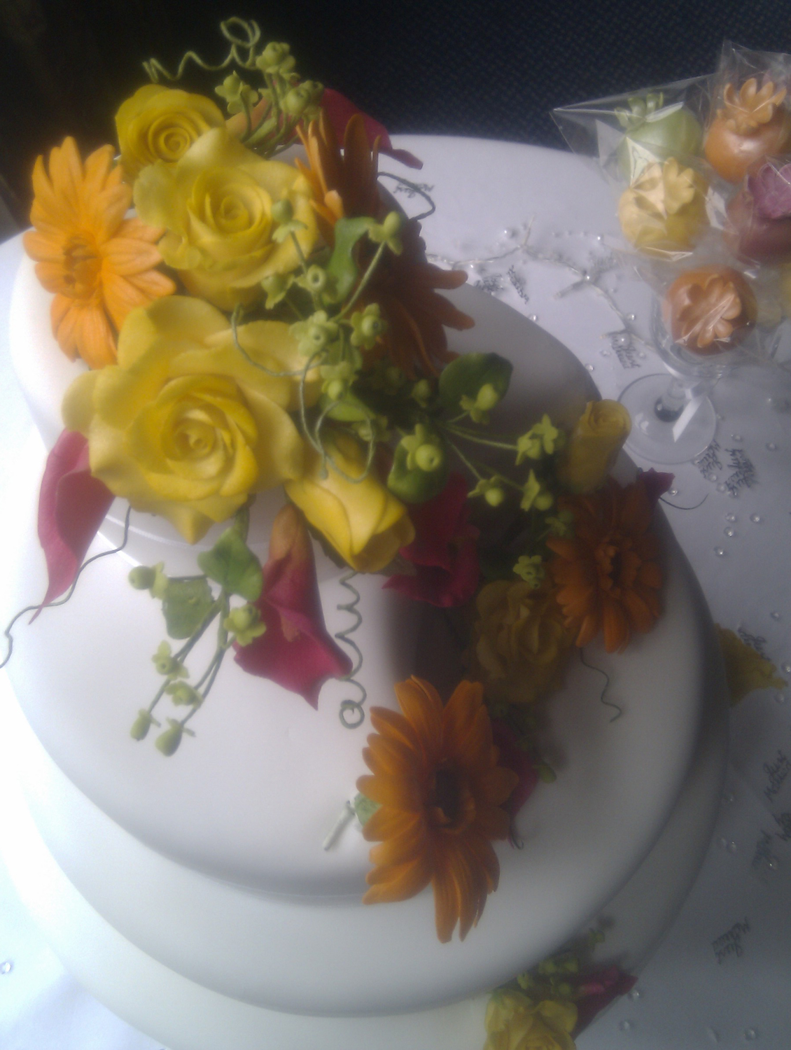 Tropical flowers cake topper