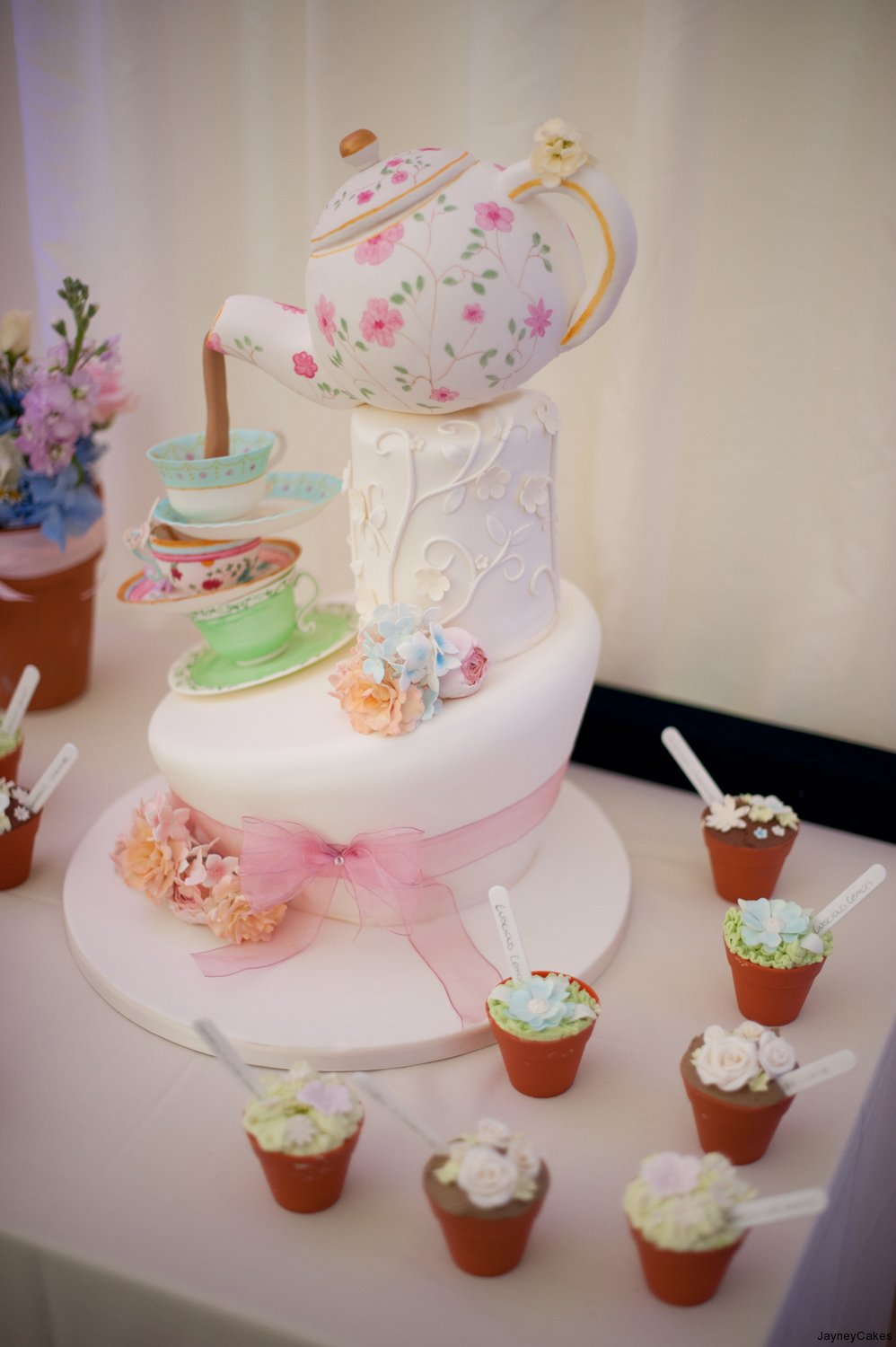 Teapot & Cup Wedding Cake with Flowerpots